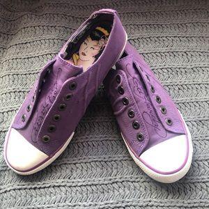 Ed Hardy Women 8 Purple Laceless Slip On Sneakers